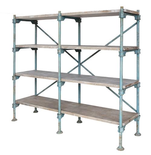 Wood & Metal Vintage Reproduction 4-Tier Shelf, Distressed Blue