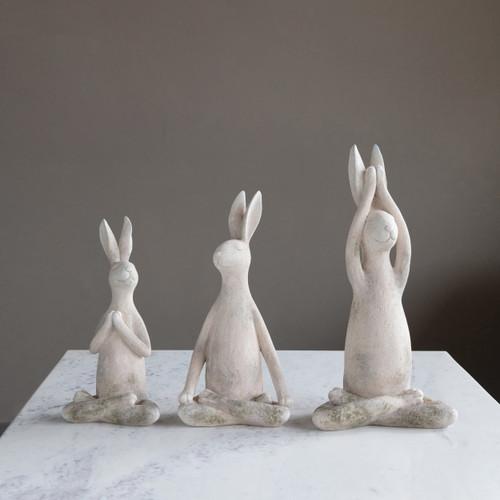 Resin Yoga Rabbit, Antique White Finish