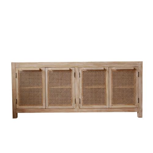 Mango Wood Side Board w/ 4 Cane Doors & 1 Shelf