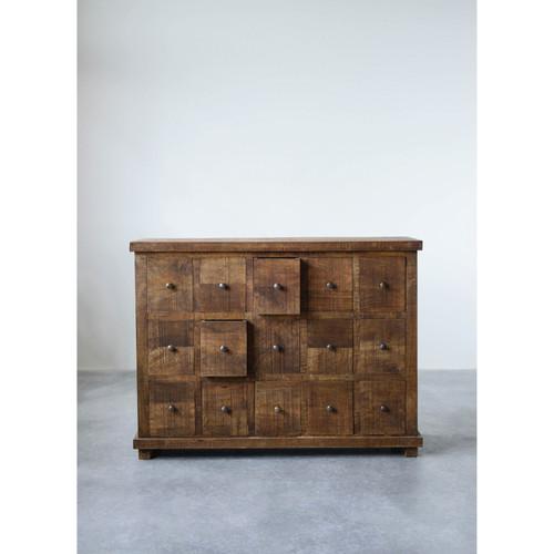 Mango Wood Cabinet w/ 15 Drawers