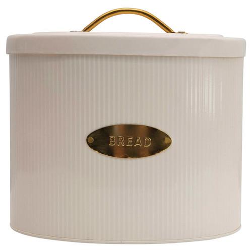 Metal Oval Storage Bread Box w/ Lid, Cream Color