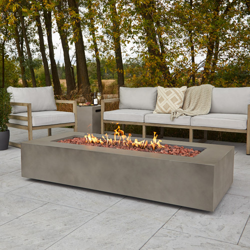 "Rectangular Steel Gas Fire Table 70"" Rectangular - Mist Gray"