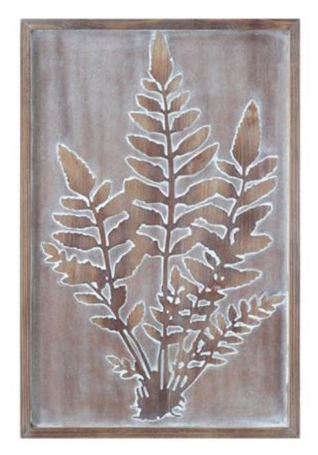 Wood Framed Embossed Wall Decor w/ Fern