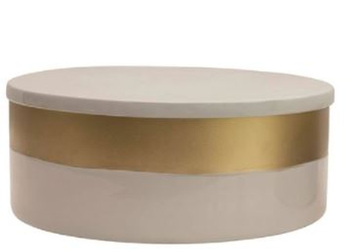 Stainless Steel Container w/ Lid, Grey Enamel & Gold Finish