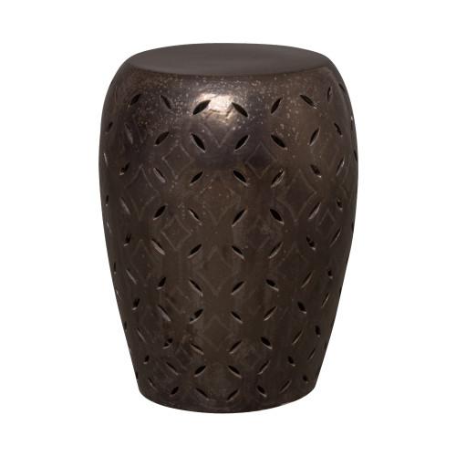 Lattice Garden Stool/Table, Gunmetal Glaze