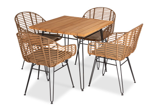 Metro Dining Set 60% OFF w/ Cedar Cushions- Dining Table Plus 4 Dining Chairs