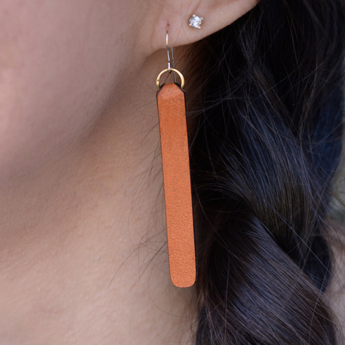 Drop Leather Earrings, Brown Leather