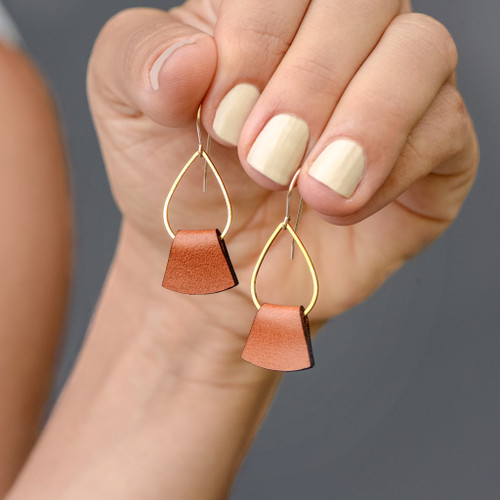 Folded Leather Earrings, Brown Leather
