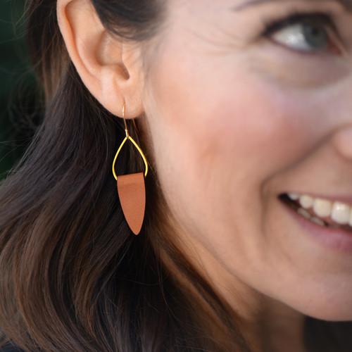 Leather + Gold Teardrop Earrings, Brown Leather