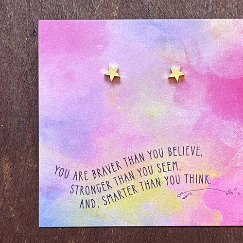 You Are Braver - Quote Card Earrings, Star