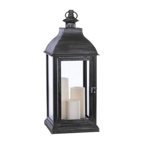 """Jumbo Candle Lantern Candle with 3 Pillars, 9.25""""x9.25""""x25"""""""