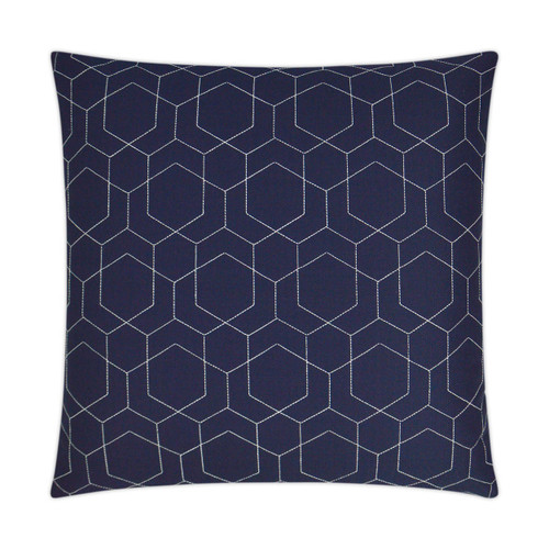 Outdoor Pillow: Hex Quilt- Square,  Navy