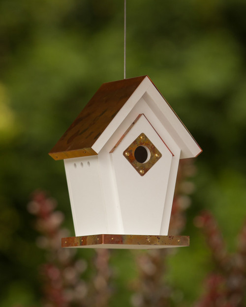"""4"""" Flamed Copper Birdhouse (Hanging)"""