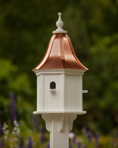 """12"""" Hexagon Birdhouse With Bright Copper Roof"""