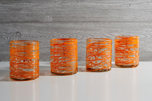 Handblown Glasses - Orange Swirl, Set of 4