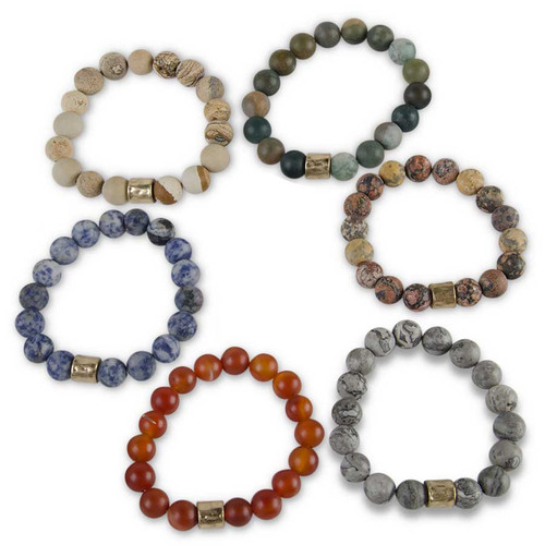 Multi Stone Bead Stretch Bracelet