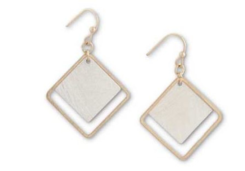 1 Inch Gold w/Brushed Silver Square Earrings