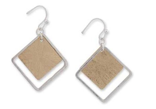 1 Inch Silver w/Brushed Gold Square Earrings