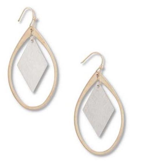 1.5 Inch Gold Teardrop w/Brushed Silver Square Earrings