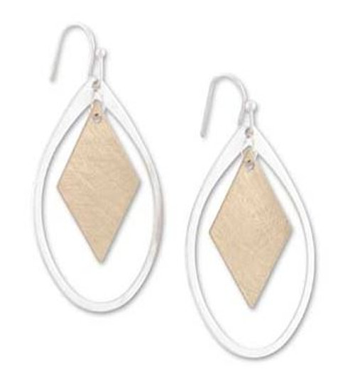 1.5 Inch Silver Teardrop w/Brushed Gold Square Earrings