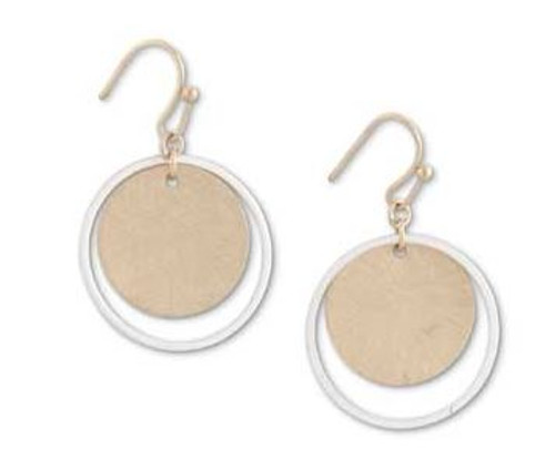 1 Inch Silver Ring w/Brushed Gold Circle Earrings