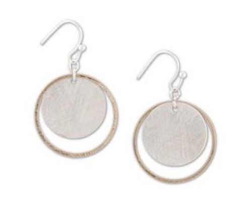 1 Inch Gold Ring w/Brushed Silver Circle Earrings