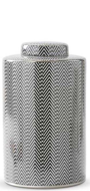 Black & White Herringbone Lidded Jar - Large