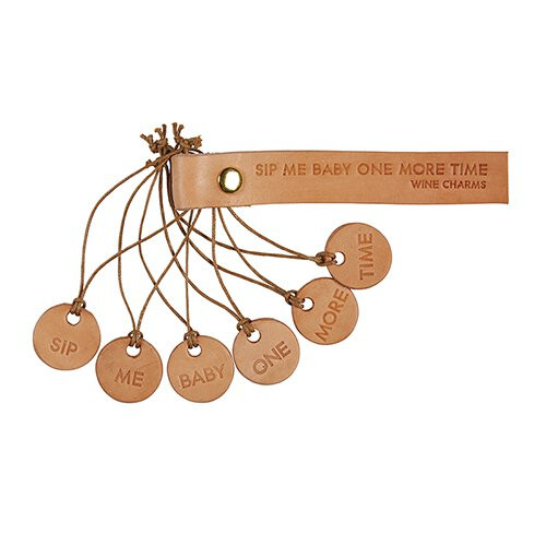 Leather Wine Charms - Sip Me Baby