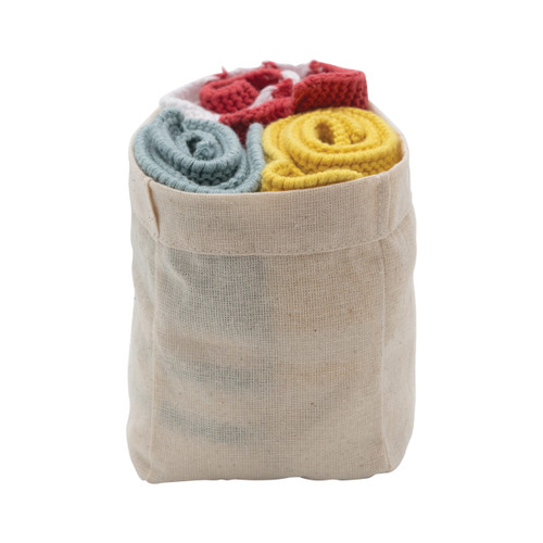 Cotton Knit Striped Dish Cloths, Yellow, Red & Blue, Set of 3 in Cotton Bag