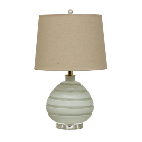 Art Glass Table Lamp w/ Linen Shade, White