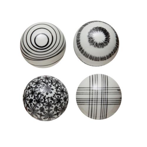 Hand-Painted Stoneware Orb, Black & White