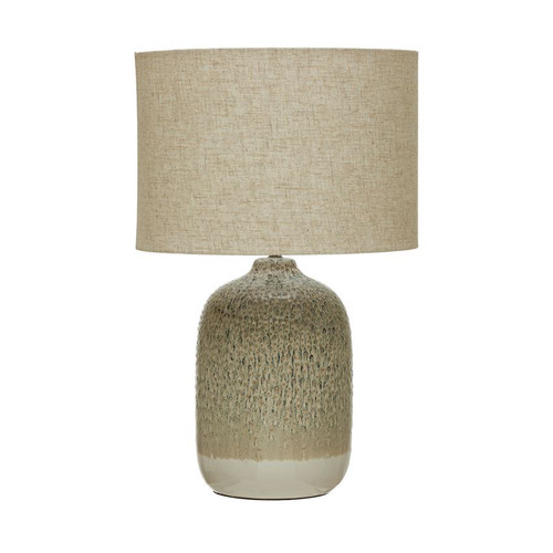 Stoneware Table Lamp with Linen Shade & Inline Switch