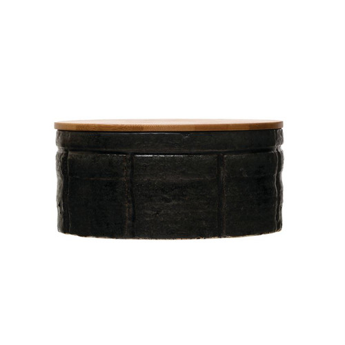 """7.5"""" Round x 3.5""""H Stoneware Canister with Bamboo Lid"""