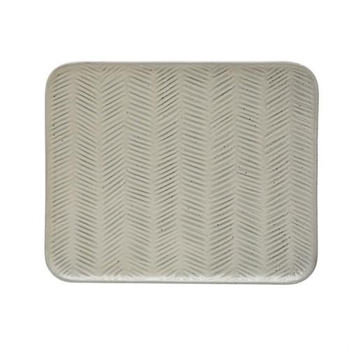 "Debossed Stoneware Platter,  12""L x 10""W"