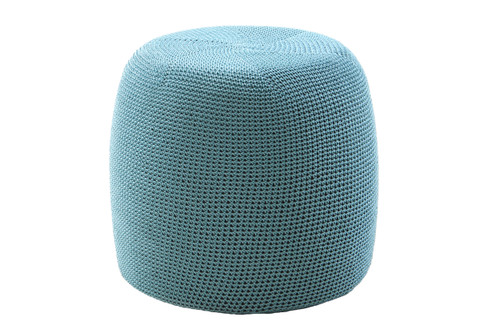"""19"""" Crocheted Pouf - Turquoise"""