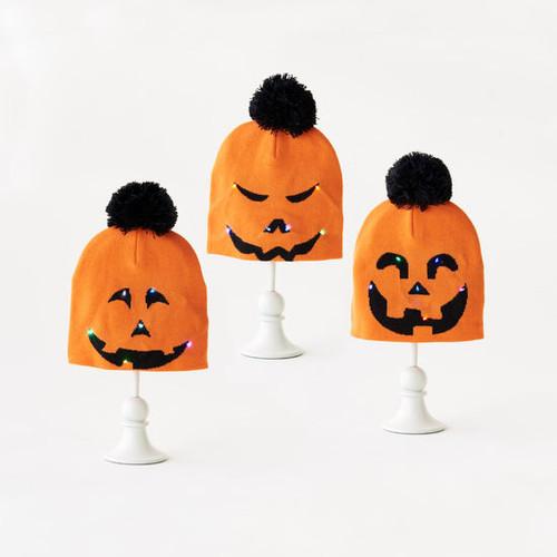 Knit Pumpkin Hat w/LED Lights