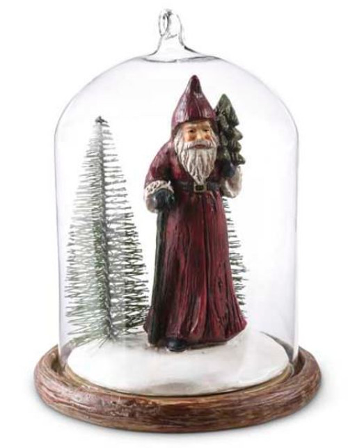 Glass Dome Ornament with Santa Carrying Tree Inside
