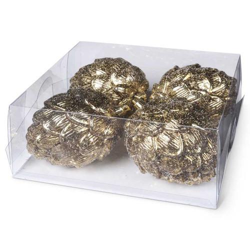 4.5 Inch Gold Glittered Round Pinecone Ornament
