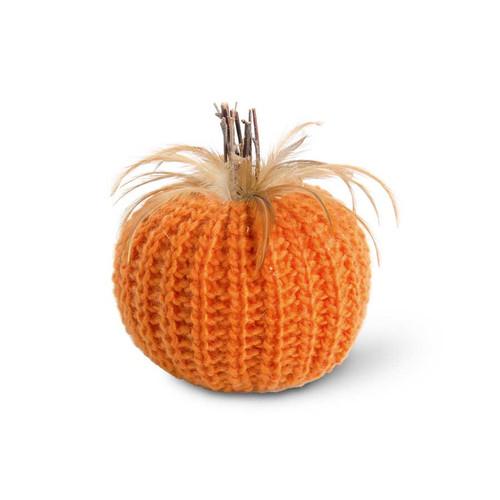 7 Inch Orange Crochet Pumpkin w/Wood Stem and Feathers