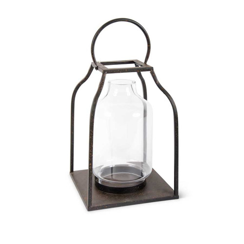 18 Inch Speckled Bronze Metal Trapezoid Lantern w/Glass Hurricane