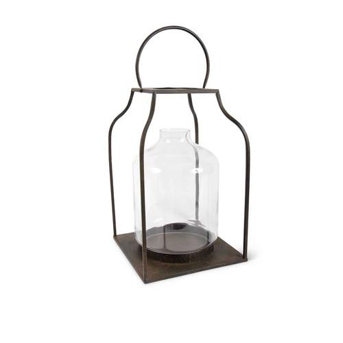 27 Inch Speckled Bronze Metal Trapezoid Lantern w/Glass Hurricane