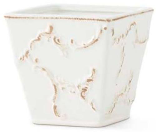 White Ceramic Scroll Embossed Square Pot, Small