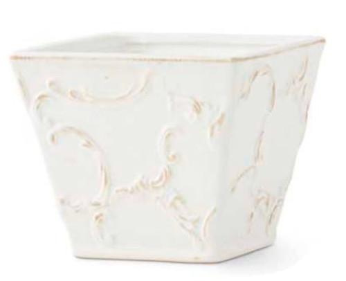 White Ceramic Scroll Embossed Square Pot, Medium