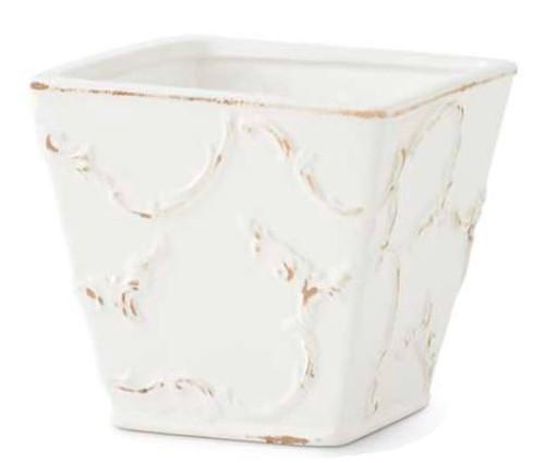 White Ceramic Scroll Embossed Square Pot, Large