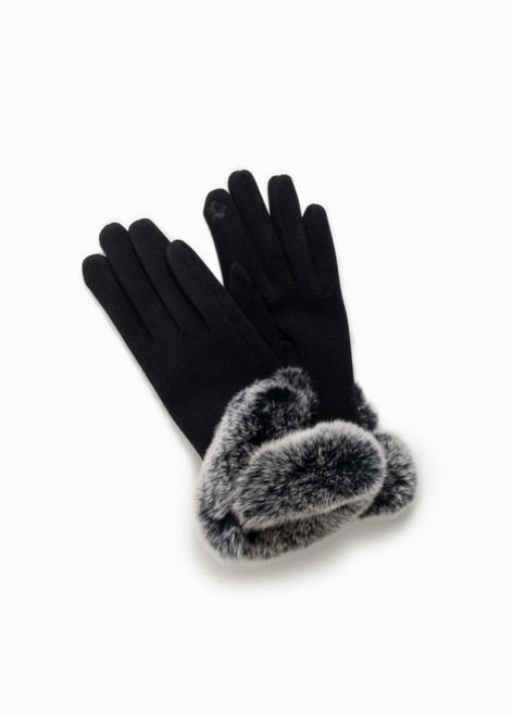 Fur Trimmed Grippy Gloves - Black