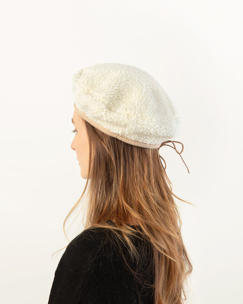 Shearling Suede Beret - Ivory