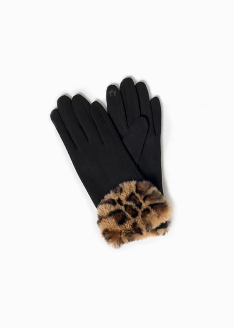 Leopard Fur Trimmed Gloves - Black