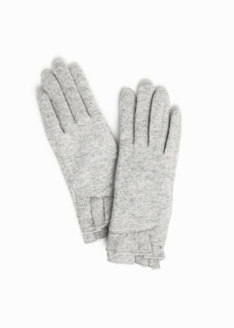 Pleated Cuff Wool Gloves - Grey