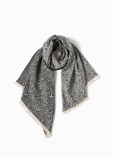 Zebra Pattern Woven Scarf - Black
