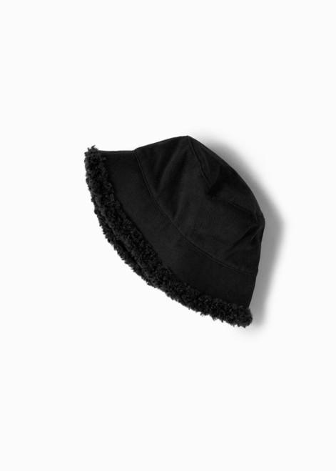 Fuzzy Reversible Bucket Hat - Black